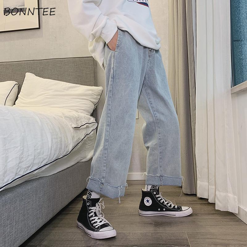 Jeans Womens Loose Ulzzang Harajuku Denim Solid Ankle-length High Waist Women Trousers Basic Classic Streetwear Straight Trendy
