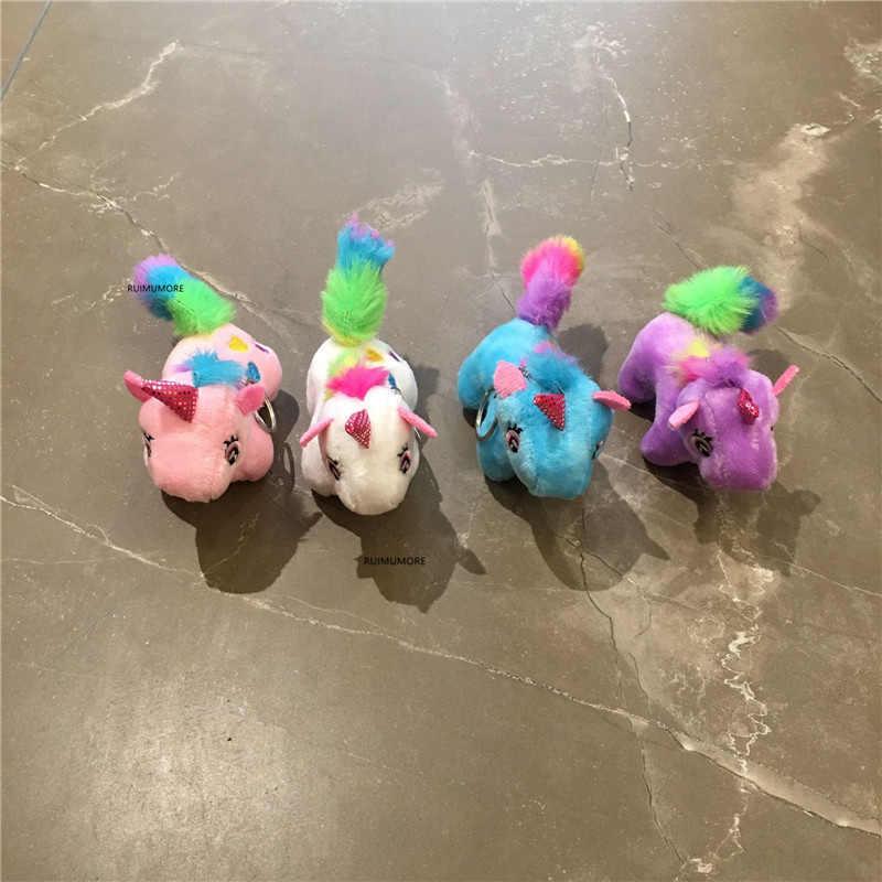 7CM. 4 색-말 박제 동물 봉제 완구, 선물 열쇠 고리 봉제 인형 장난감