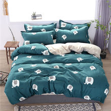 elephant bed linen set white star bedding sets Animal Soft Duvet Cover set 3/4Pieces AU Queen King UK Double Size comfortable(China)