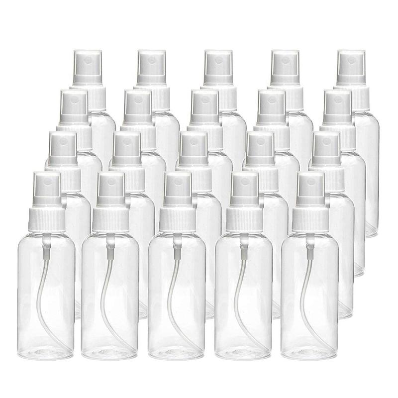 20 PCS 30 Ml(1Oz) Clear Plastic Mist Spray Bottle,Transparent Travel Bottle,Portable Refillable Spray Sprayer Bottle for Travel,
