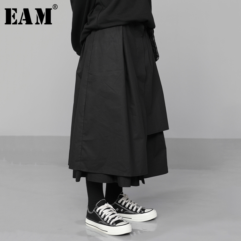[EAM] High Elastic Waist Black Asymmetrical Pleated Temperament Half-body Skirt Women Fashion Tide New Spring Autumn 2020 1N530