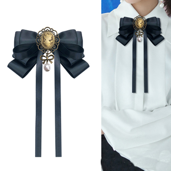 Black Beauty Head Bow Tie Female Brooch Retro British College Style Bows Brooches for Women Shirt Collar Jewelry Accessories