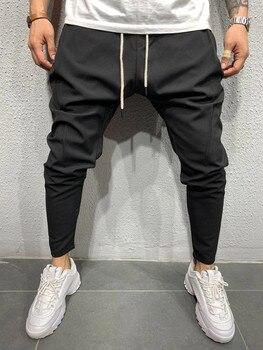Mens Dress Pants Men's Casual Suit Tether Pants Solid Color Hip-hop Jogger Casual Pants