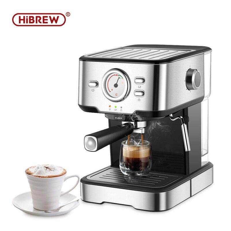 Máquina de café expreso HiBREW inox semiautomático expresso make con termómetro Visual