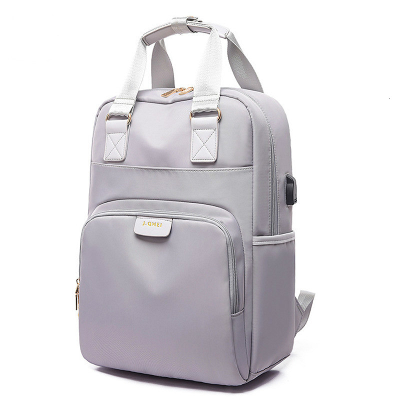 Girls Gray Backpack Both Shoulders USB Charge School Bags For Teenage Boys Women Computer Backpack 14.1