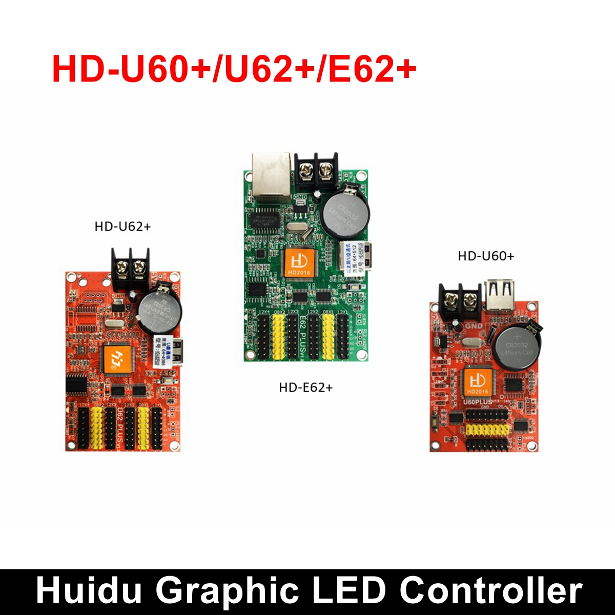 HD-E62 Plus Huidu Single Dual Color Graphic LED Controller HD-U60-75 Full Color Graphic Control Card