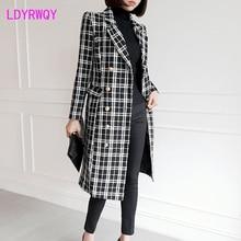2019 winter new Korean temperament suit collar slim double-breasted long woolen woolen coat