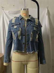 Image 5 - Damska seksowna kurtka dżinsowa z dziurami, z frędzlami, Denim, jeans, w stylu Boyfriend, Vintage, z długim rękawem, katana jeansowa dla kobiet, krój Slim, na jesień, płaszcz, większe rozmiary