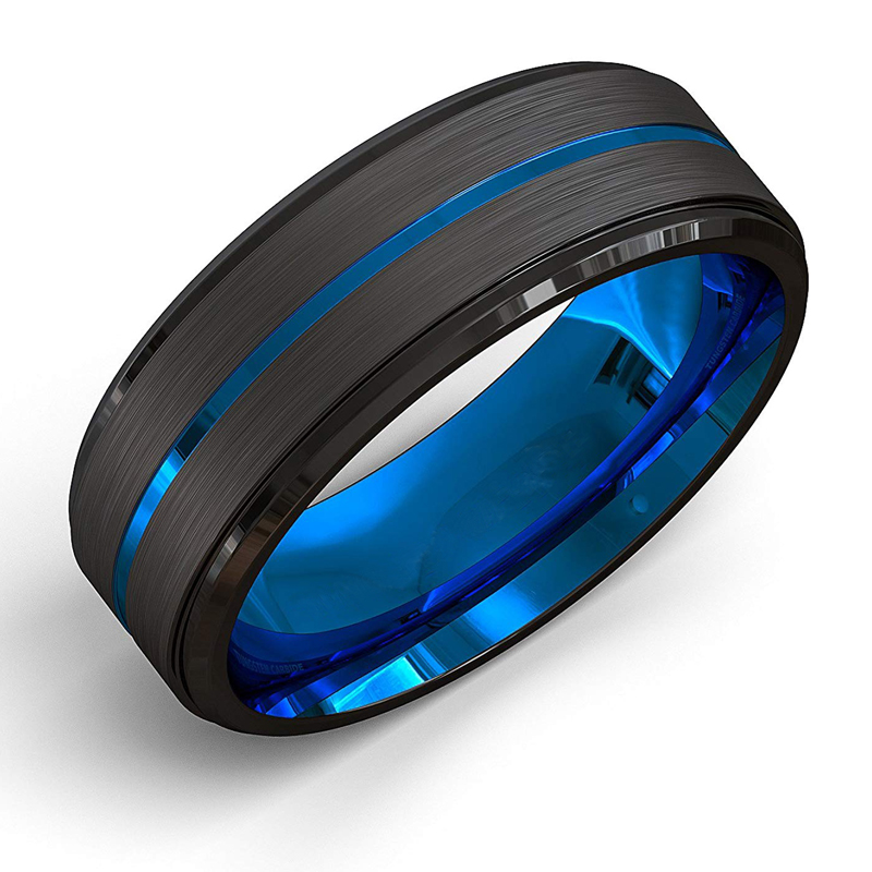FDLK Men's fashion 8MM Black Brushed Ladder Edge Tungsten Ring Blue Groove Men Wedding Ring Gifts For Men