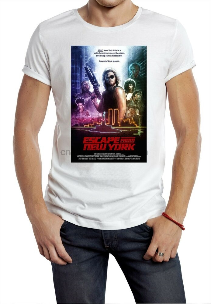 escape from New York T shirt snake movie retro 80s classic film President future(China)
