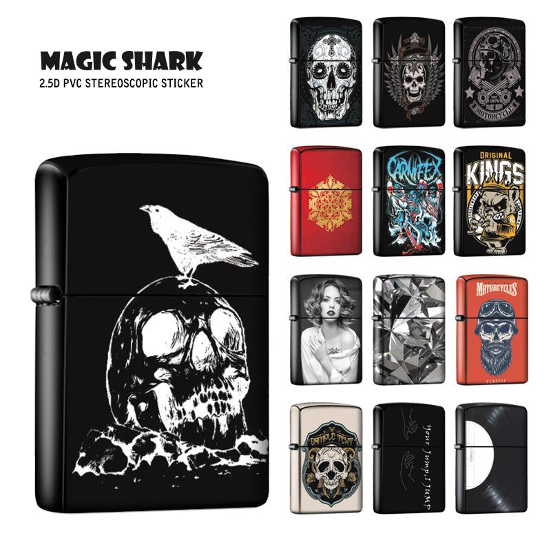 Magic Shark Skull Disk Zombie Sexy Lady Crystal Ultra Thin Stereo PVC Film Case Cover Sticker For Zippo Lighter