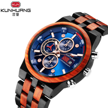 Wooden Watch Chronograph KUNHUANG Relogio Mineral-Dial Sport Blue Masculino Functional