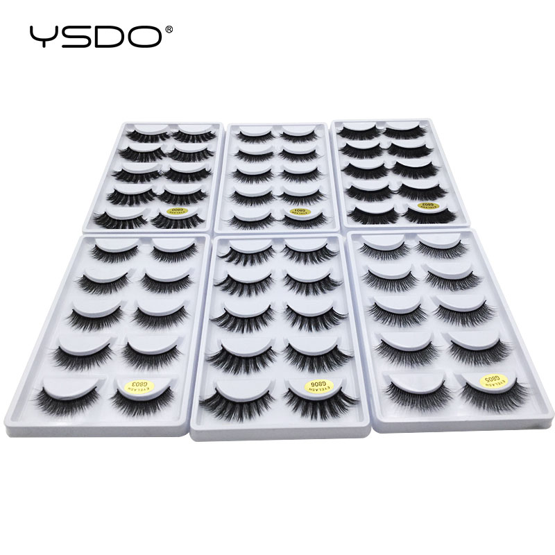 YSDO 50 boxes eyelashes mink eyelash strip 3d lashes false lashes makeup 3d mink lashes 250 pairs eyelashes extension wholesale-in False Eyelashes from Beauty & Health