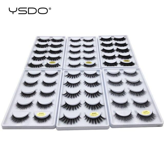 YSDO 50 boxes eyelashes mink eyelash strip 3d lashes false lashes makeup 3d mink lashes 250 pairs eyelashes extension wholesale