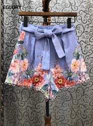 2020 Summer Fashion Shorts High Quality Linen Women Charming Flower Print Ring Deco Belted Casual Blue Shorts Pants Clothing