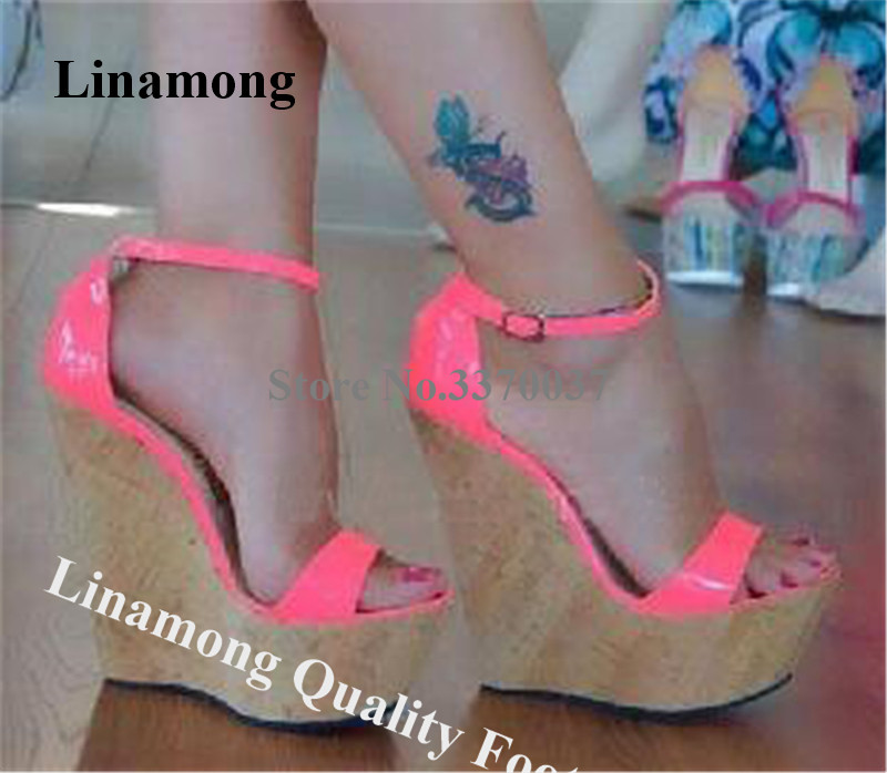 Linbetween nouveau bout ouvert en cuir verni haute plate-forme compensée gladiateur sandales Fluorescent Rose rouge jaune compensées robe chaussures compensées