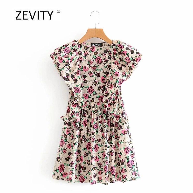 women vintage v neck pleated ruffles rose flower print casual slim mini dress female chic retro butterfly sleeve dresses DS4020