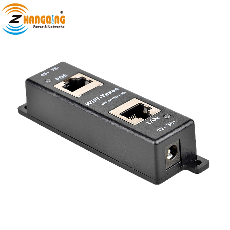 Passive Single Port Gigabit PoE Injector Led Indication  Data And Power Mode A & B Shared All 4 Paired