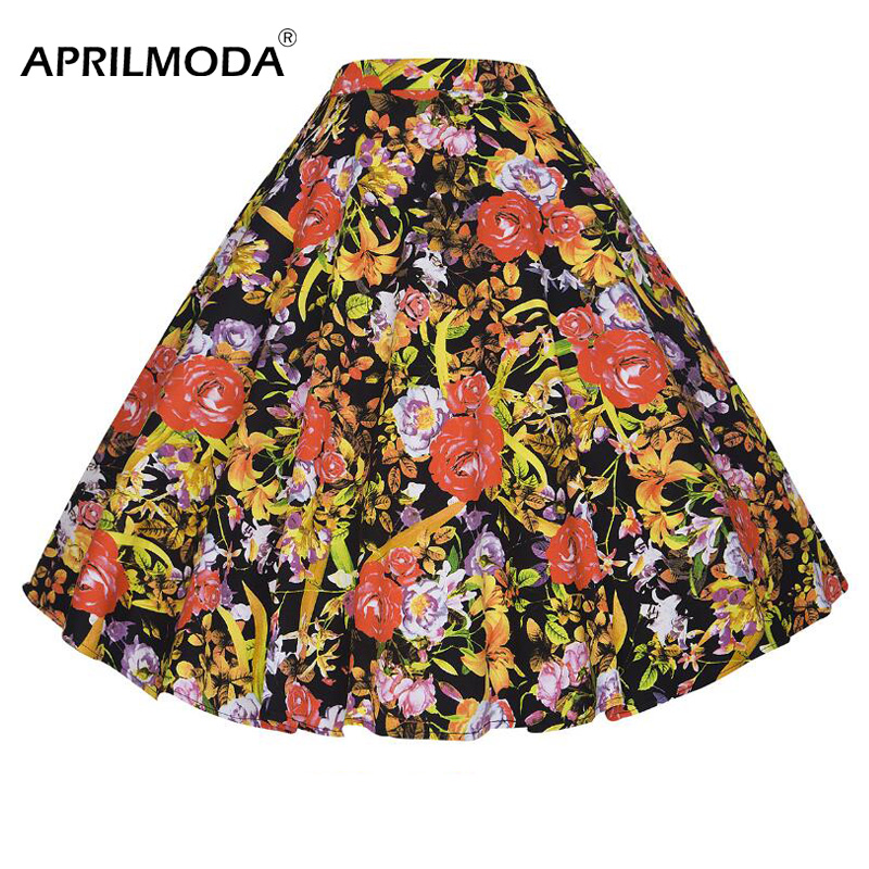 Летняя винтажная женская повседневная юбка с цветочным принтом в стиле ретро, плиссированные юбки с высокой талией, 50 s, большая свободная