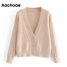 Knitted Cardigan Aachoae Women Top Twist-Sweater Long-Sleeve V-Neck Casual Winter Autumn