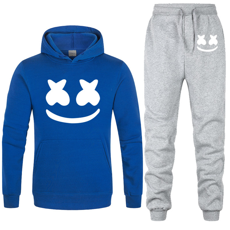 AliExpress New Style Marshmello Smiley Hooded Set Hoodie Casual Men And Women-