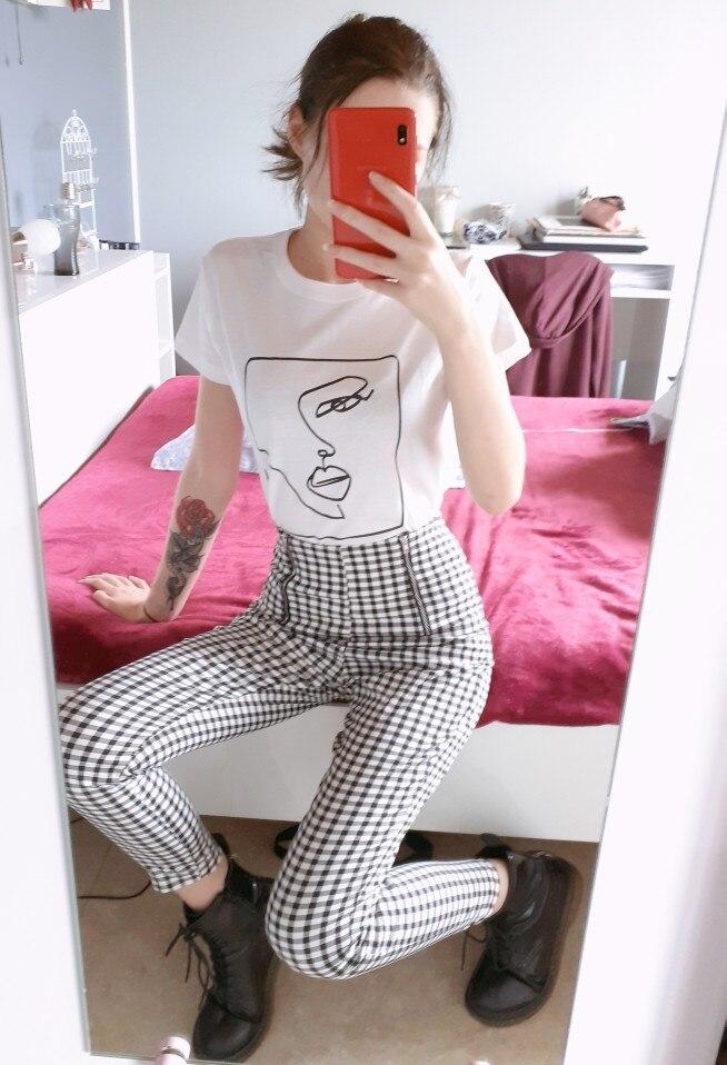 Twarz streszczenie prosta koszulka damska bawełna Casual Funny t shirt prezent dla pani Yong dziewczyna koszulka Drop Ship S-723 6