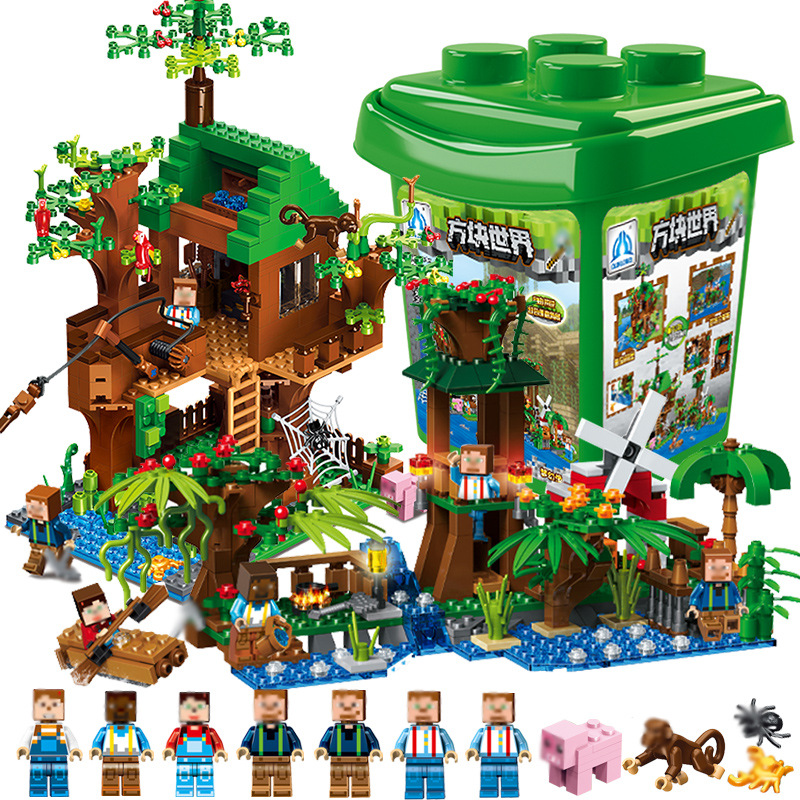 2 In 1 859pcs My World Village Tree House Friends Minecraftness Legoingly Technic Building Blocks Children Bricks Toys Gifts