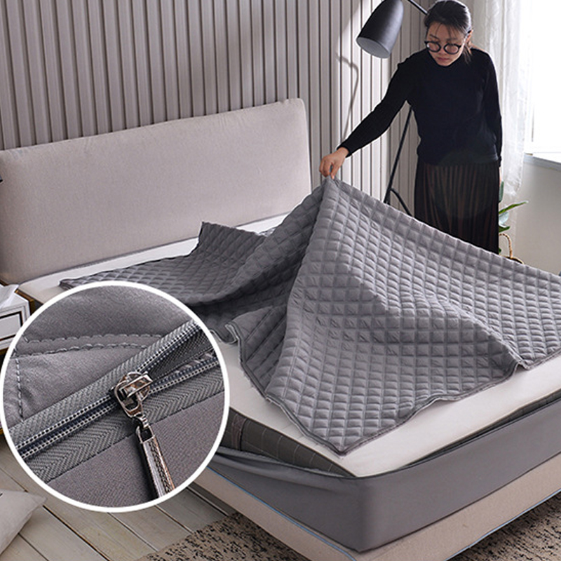 Solid Color Bed Bug Proof Mattress Cover Zipper Jacquard Quilted Mattress Protector Fully Covers Mattress Pad