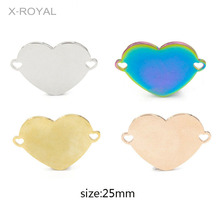 X-ROYAL 5Pcs/lot Stainless Steel Rose Gold Heart Shape Bracelet Charms DIY Jewelry Making Findings Necklace Pendant Connectors