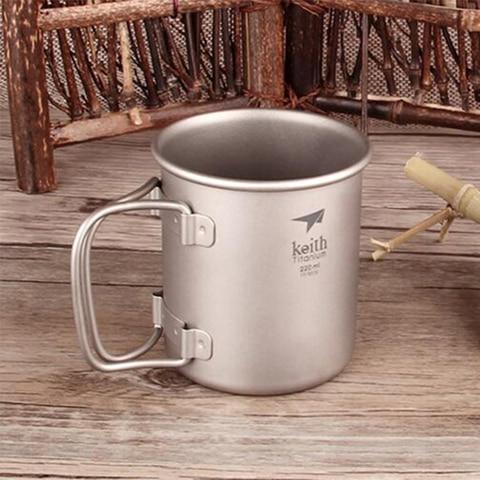 copos de agua canecas drinkware acampamento sem tampa dobravel de titanio ultraleve ao ar livre