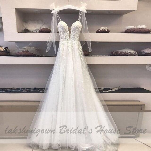 Deep V-neck Sexy Bridal Wedding Dress 2021 Robe Boheme Glitter Tulle New Mariage Wedding Gowns Vestidos Boho Wedding Dresses 3