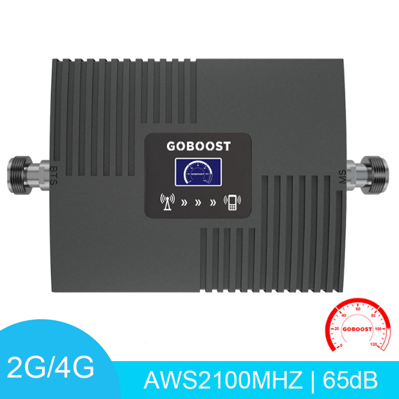 Mini Signal Booster LCD Display AWS 2100 Mhz Band 4 Network Cell Phone Amplifier 65dB Strengthen Mobile Signal Booster Repeater