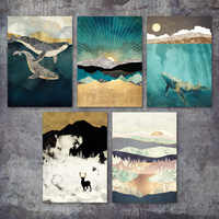 Abstract Landscape Mountain Deer whale Nordic Posters And Prints Wall Art Canvas Painting Wall Pictures For Living Room Decor