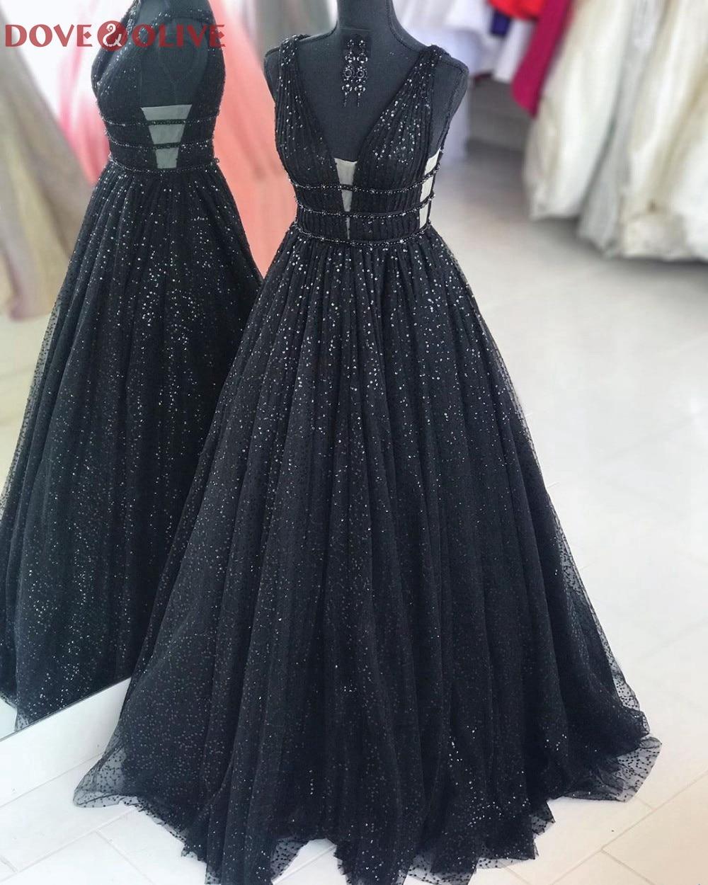 Sexy V Neck Sequined Black Long A-Line Beaded Prom Dresses Elegant Women Sleeveless vestidos de fiesta Formal Party Evening Gown