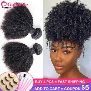 Gabrielle Mongolian Afro Kinky Curly Hair Bundles 8-20 inch 100% Human Hair Bundles 3/4 pcs Remy Hair Weaves Short Curly Hair