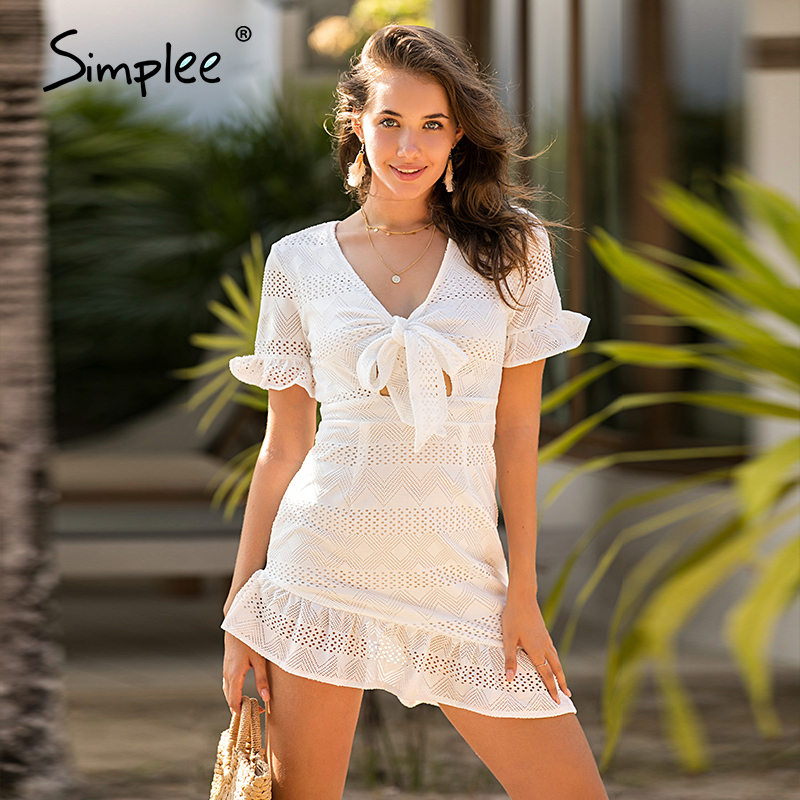 Simplee Hollow Out Women White Dress Geometric A Line Slim Fit Wrap Sexy Dress Ladies Chic Holiday Cotton Spring Summer Dress