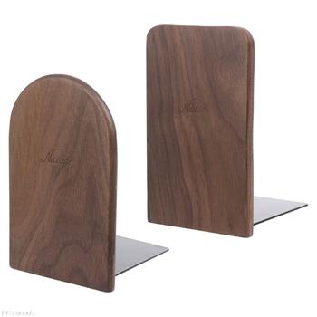 Orzech drewno książka stojak Organizer na biurko pulpit biuro strona główna Bookends książka kończy stojak uchwyt półka 13x8cm tanie i dobre opinie Drewna