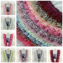 5cm Wide Exquisite Mesh Tassel Double Stitching Pleated Fine Lace Fabric DIY Doll Clothes Dress Skirt Home Textile Decoration