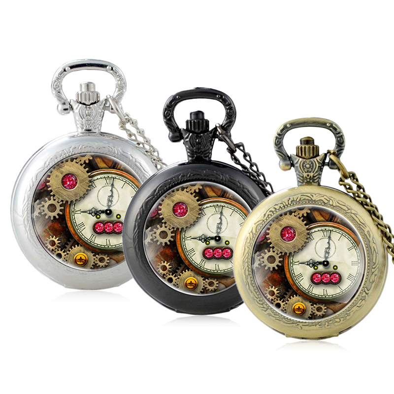 Bronze Black Silver Steampunk Clock Gear Quartz Glass Dome Pocket Watch Fashion Punk Necklace Pendant Jewelry Chain Men Women