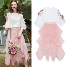 High quality clothing set women's luxury floral applique top + long mesh star party bohemian skirt set