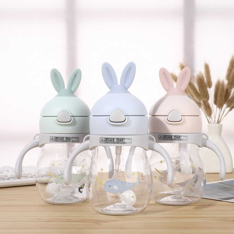 In Music Adorable Rabbit Children Cup With Straw Plastic Food Grade PP Material CHILDREN'S Kettle Infant Drink Water Kettle