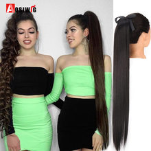 AOSI Super Long Straight Women Ponytail Synthetic Drawstring Pony Tail Clip In Hair Extensions Black Brown Girls Heat Resistant