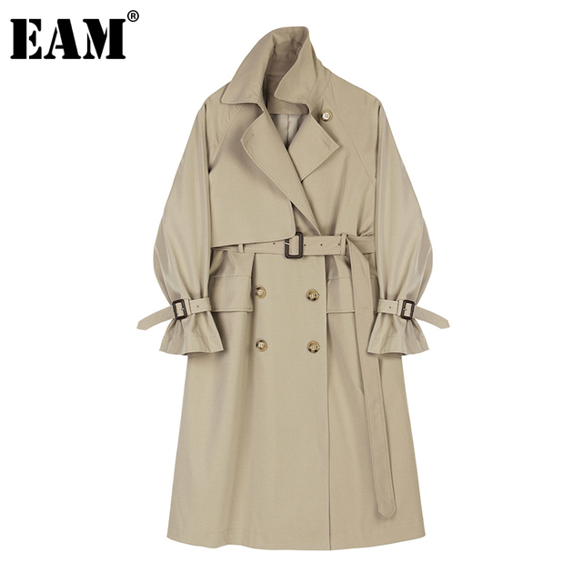 [EAM] Women Camel Brief Big Size Long Trench New Lapel Long Sleeve Loose Fit Windbreaker Fashion Tide Spring Autumn 2021 1Z943 1