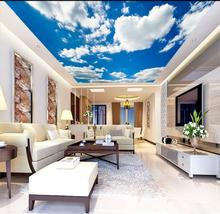 все цены на Living Room Bedroom Ceiling Background Wallpaper 3D Mural simple and beautiful blue sky and white clouds ceiling murals онлайн