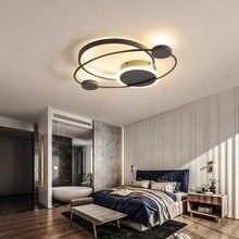 Decoração do quarto moderno luzes led luz de teto pode ser escurecido com controle remoto lâmpada do teto iluminação para casa preto e branco luminária