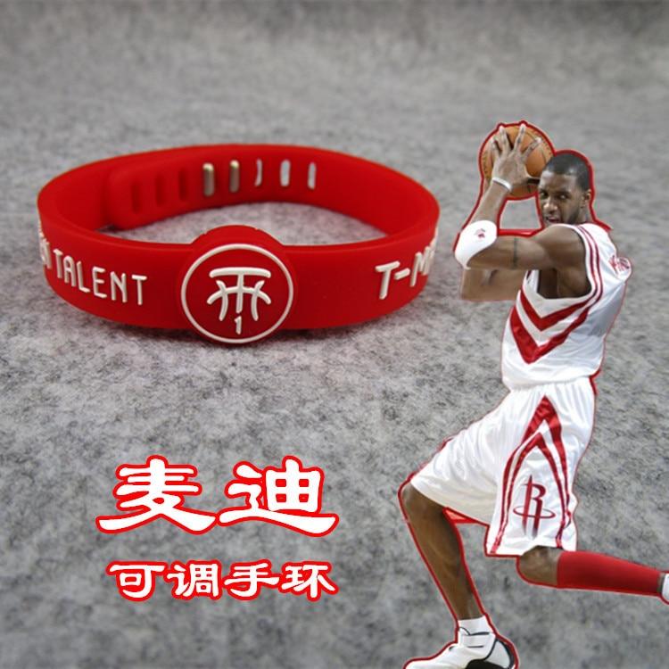 NBA Basketball Star McGrady Adjustable Silica Gel Kobe James Curry Westbrook Rose Bracelet Wrist Strap