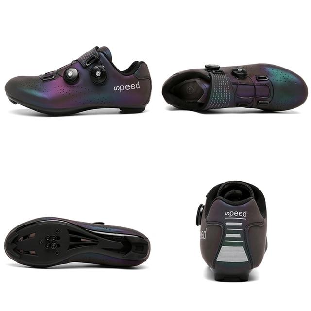 Ultralight fivelas duplas sapatos de ciclismo mtb luminosa bicicleta de estrada sapatos de auto-bloqueio cleat sapatos profissional tênis 2