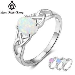 Элегантное 925 пробы Серебряное плетеное кольцо с овальным белым розовым голубым опаловым камнем обручальные кольца для женщин (Lam Hub Fong)