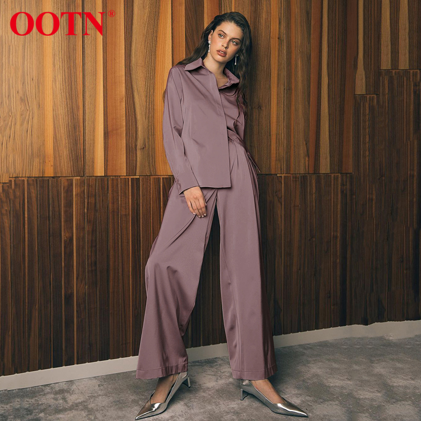 OOTN Blue Satin Home Suit Wear Spring Brown Long Sleeve 2 Piece Top And Pants Women Sets Loose Casual Solid Ladies Trousers Set