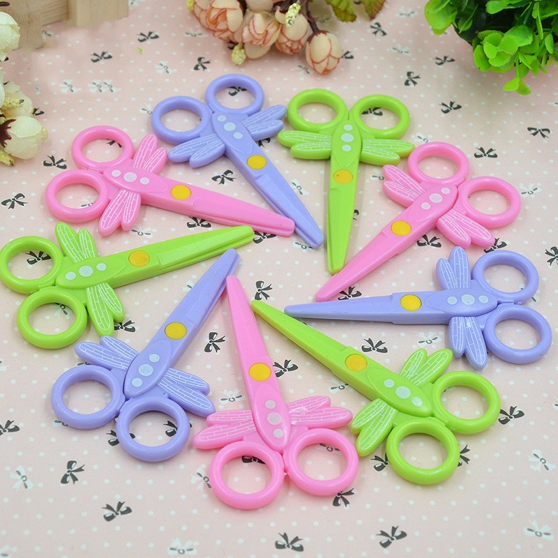 Safety Plastic Cartoon Dragonfly Shape Children Safety Paper-cut Knife Mini Manual Student Cutting Lace Scissors